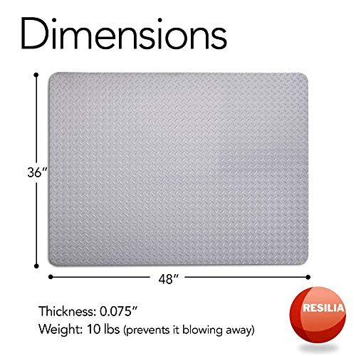 Resilia - Garage Mat, Prevents Stains - Decorative Embossed Diamond Plate Pattern - Silver, 3 Feet x 4 Feet by Resilia (Image #4)