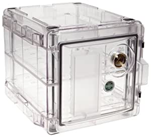"""Bel-Art Scienceware 420721000 Clear Secador 2.0 Desiccator Cabinet with 2 Shelves, 13.4"""" Width x 12.4"""" Height x 16.3"""" Depth"""