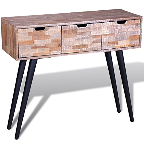 vidaXL Reclaimed Teak Wood 3 Drawers Hall Console Side Display Table Stand Desk