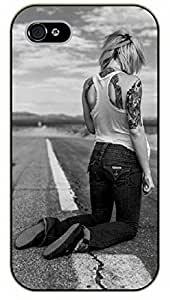 iPhone 4 / 4s Girl on the road - black plastic case / Sexy Girl Black And White, Hot