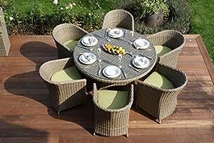 Mimbre muebles de jardín 6 Aston asiento redondeado comedor verde cojines