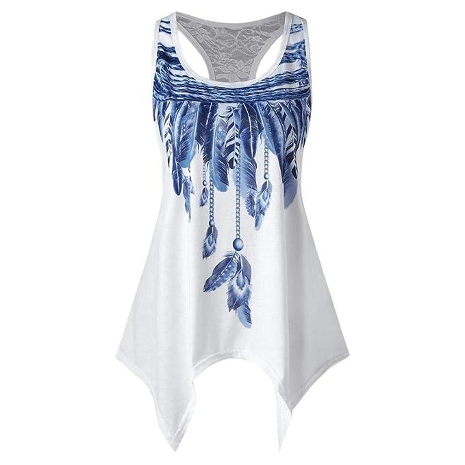 c2285da55e23a1 Staron Women s Tank Tops Racerback Lace Vest Feather Print Shirts Casual Blouse  Tops (S