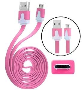 Calidad Wayzon rosa plano de alta velocidad de sincronización de datos micro USB cable cargador de plomo apto para T-Mobile Arizona/Comet/Concord/energía/G2X/G2/HD2/Prism II 2