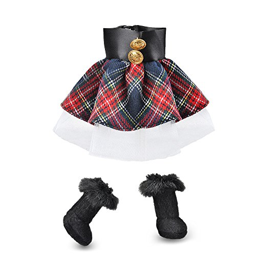 E-TING Santa Couture Clothing for elf Doll is not Included (Red-Blue Plaid Dress with Boots) Christmas Decoration -