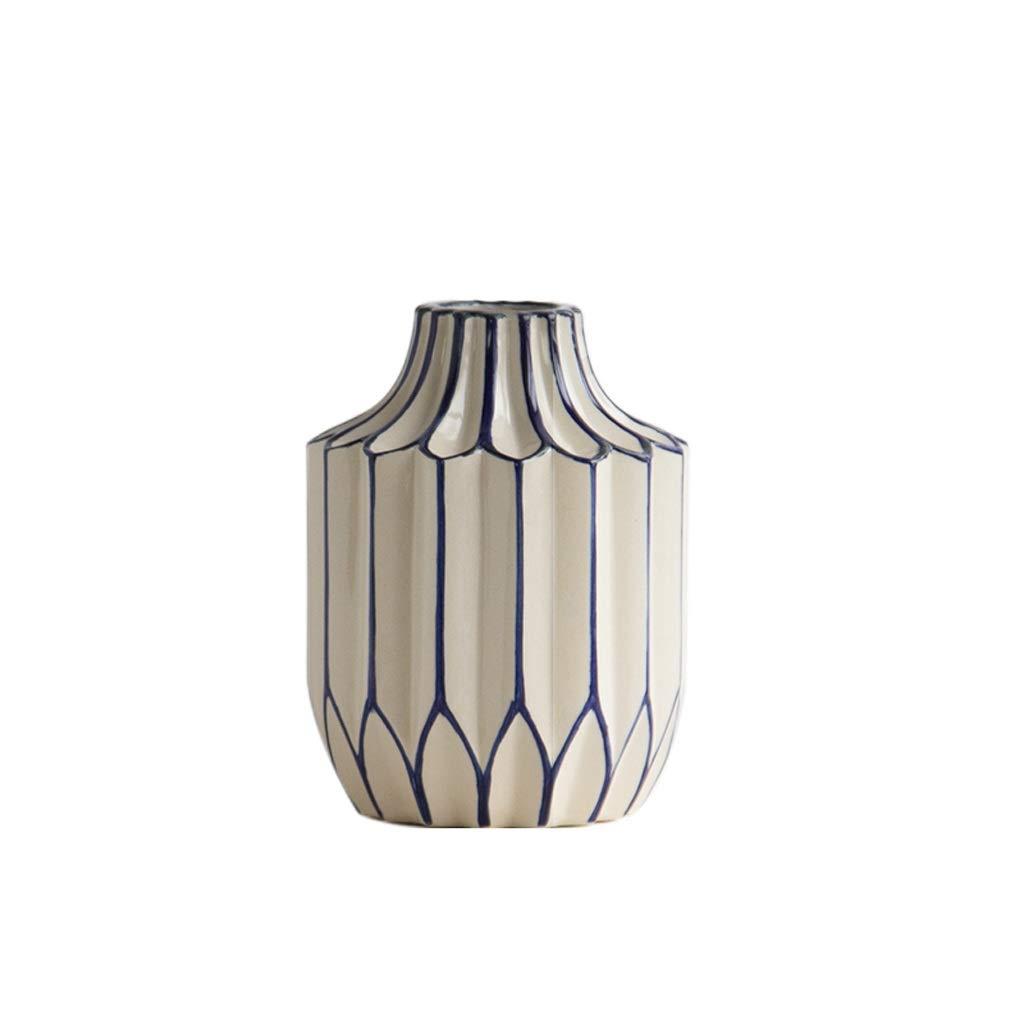 MAHONGQING 花瓶現代中国風のリビングルームセラミック花瓶乾燥フラワーアレンジメントフラワーデコレーション装飾品スリーピーススーツ (Size : S) B07S89DD65  Small