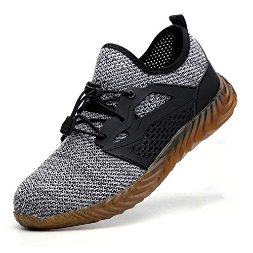 JACKSHIBO Work Indestructible Shoes for Women Men Mesh Breathable Lightweight Safety Industrial Construction Steel Toe Shoes 825 Grey 11 M US Women / 9.5 M US Men