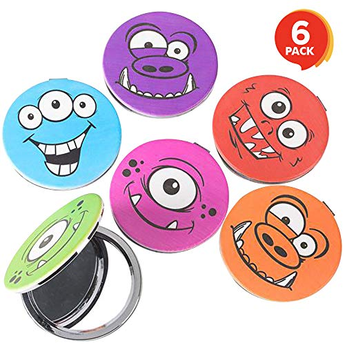 ArtCreativity Monster Compact Mirrors for Kids (Set of 6) | 2.75 Pocket Mirrors with Magnetic Closure | Birthday Party Goodie Bag Fillers and Party Favors for Boys and Girls | Assorted Colors