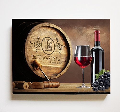 Valley Napa Baskets (MuralMax Personalized Napa Valley Wine Barrel Canvas Wall Decor - Milestone for Parents, Grandparents, Newlyweds, Bridal Showers, Office Retirement Parties - Size-30x24)