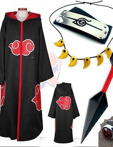 Anime de Cosplay disfraz Naruto Akatsuki Negro cosplay Cloak con ...