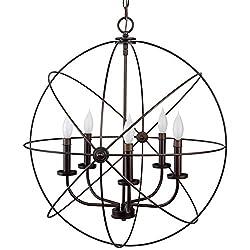 Kira Home Orbits II Large 24 5-Light Modern Sphere/Orb Chandelier Bronze