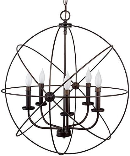 Kira Home Orbits II Large 24 5-Light Modern Sphere Orb Chandelier Bronze