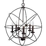 Revel Orbits II Large 24'' 5-Light Modern Sphere/Orb Chandelier Bronze