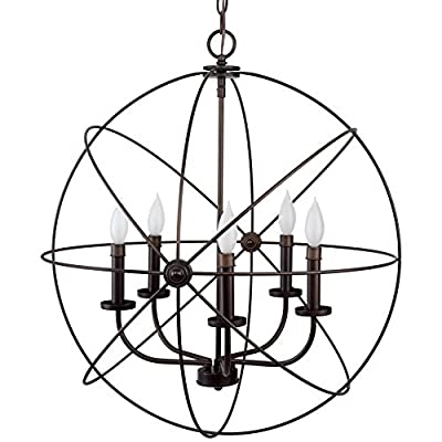 "Kira Home Orbits II Large 24"" 5-Light Modern Sphere/Orb Chandelier Bronze - MODERN, INDUSTRIAL STYLE: This stunning, bright chandelier features a bronze finish and is made up of 5 intertwining rings surrounding a 5-light candelabra set in the center. ASSEMBLY IS REQUIRED ENHANCE YOUR SPACE: Hang this bright, unique fixture in several areas. Perfect over a breakfast nook, above a kitchen island or dining room table, or locations with high ceilings such as foyers or entryways. Dimmer and sloped ceiling compatible UL LISTED FOR YOUR SAFETY: UL listed for dry locations. Uses (5) LED, CFL, or up to 60W incandescent Type B candelabra base bulbs. Bulbs sold separately - kitchen-dining-room-decor, kitchen-dining-room, chandeliers-lighting - 51aiEfsFyyL. SS400  -"