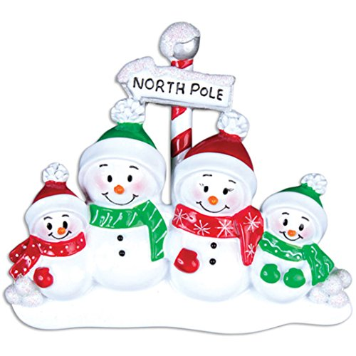 (Personalized North Pole Family of 4 Christmas Tree Ornament 2019 - Snowman Parent Child Hat Play Snowball Red Green Candy Cane Sign Winter Activity Tradition Gift Year - Free Customization (Four))