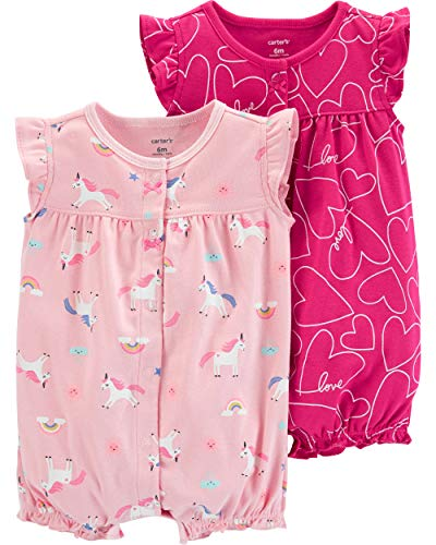 Carter's Baby Girls 2-Pack Romper, Unicorn/Hearts, 18 ()