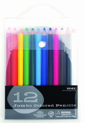 Xonex Snap Case Art Supplies - Jumbo Colored Pencils, 12PC, 1 count (30131)