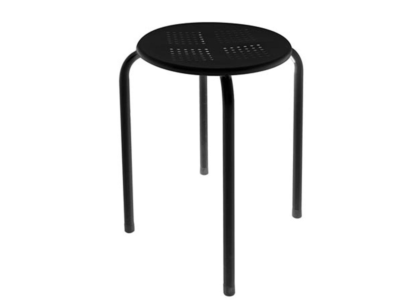 2er Set Robuster und stabiler Hocker aus pulverbeschichtetem Stahl schwarz