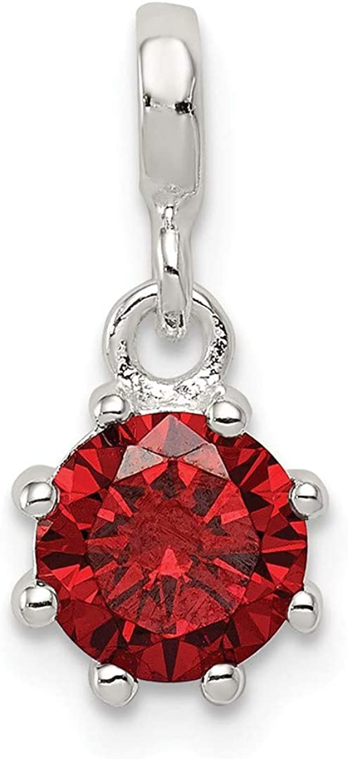 925 Sterling Silver Polished Red CZ Cubic Zirconia Simulated Diamond Pendant Necklace Jewelry Gifts for Women