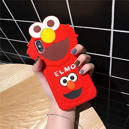 iPhone XR Case, MC Fashion Cute 3D Cartoon Sesame Street Case for Girls Boys Women Men, Shockproof and Protective Soft Silicone Cover for Apple iPhone XR (2018) 6.1-Inch (Red/Elmo)