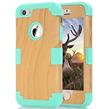 Phone case for iphone5/5s/SE, Speedup 3 in 1 High Impact Combo Luxury Cool Wood Textured and Soft Silicon Case for Apple iPhone 5/5S/SE (Mint Green)