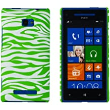 Embossed Print Slim Fit Hard Case for HTC Windows Phone 8X (AT&T, T-Mobile, Verizon) - Includes DandyCase Keychain Screen Cleaner [Retail Packaging by DandyCase] (Neon Green Zebra Stripes)