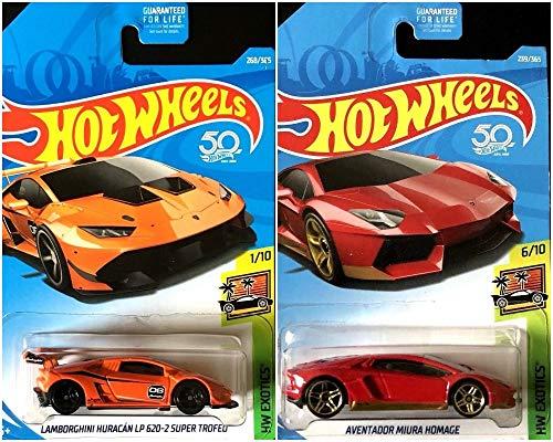 Hot Wheels Lamborghini Huracan LP 620-2 Super Trofeo Orange 268/365 and Aventador Miura Homage Red 239/365 Bundle