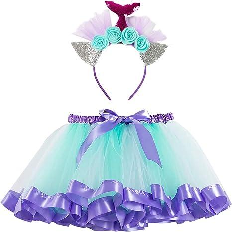 TENDYCOCO Disfraz Sirena Tutu Falda Diadema de Sirena Vestido de ...