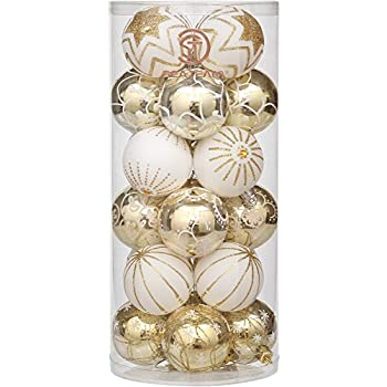"""Sea Team 60mm/2.36"""" Delicate Contrast Color Theme Painting & Glittering Christmas Tree Pendants Decorative Hanging Christmas Baubles Balls Ornaments Set - 24 Pieces (Gold & White)"""