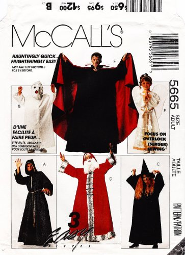 McCall's 7854 Masquerade Costumes: Angel, Wizard, Ghost, Witch, Father Christmas and Dracula, (also sold as 5665) - Kids Sizes 2-12 McCall's M7854