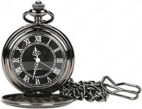 WIOR Black Classical Pocket Watch Retro Steampunk Pattern Quartz Numerals Pocket Watch with 14.5 in Chain for Xmas Birthday Fathers Day Gift (Black)