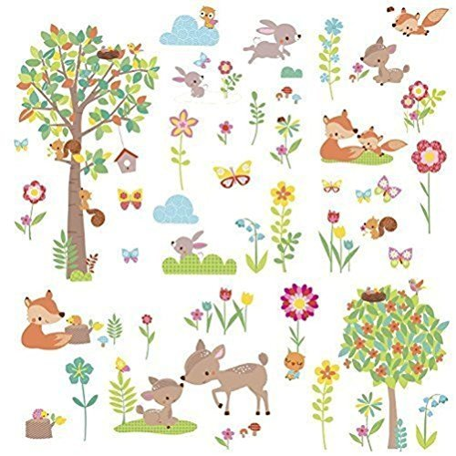 Defonia Woodland Creatures Wall Decals Animals Trees Room Decor Stickers Deer Forest New by Defonia