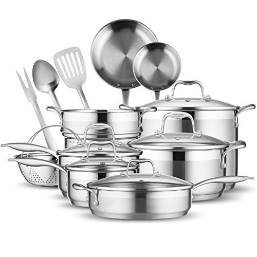 Elite 18/8 Stainless Steel 17-Piece Cookware Set By Famaid - Professional Kitchenware Set, Rustproof & Dishwasher-Safe, Elegant Design & Safe Handles For All Cooking Purposes - Ideal Housewarming Gift