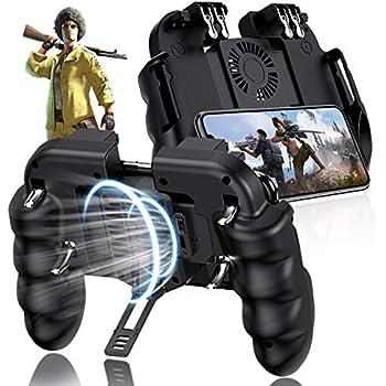 EMISH Mobile Game Controller Gamepad Mobile Gaming Trigger Joystick Metal L1 R1 Button for PUBG/Rules of Survival (Black)