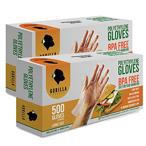 1000 BPA Free Disposable Poly PE Gloves Large, Food Grade, 2 Pack of 500 (Gorilla Gloves)