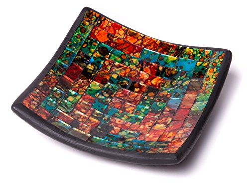 Glass Mosaic Square Accent Plate Platter Decorative Catch-All Tray Dish Centerpiece Bowl - 8