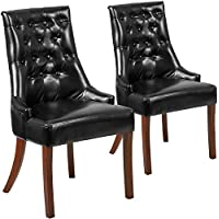 Flash Furniture 2 Pk. HERCULES Paddington Series Black Leather Tufted Chair
