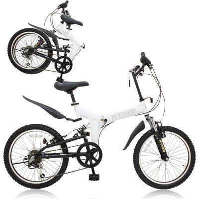 KYUZO 20インチ 折りたたみ自転車 シマノ純正6段変速にZOOM製フロントサス、リアサスを搭載した自転車の九蔵別注MTB! KZ-100 (マットホワイト) B001UMAG0G