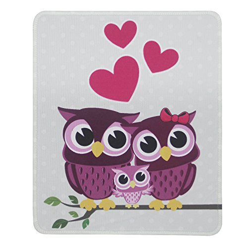 Tsmine Mouse Pad, Premium Texutured Mouse Pad Mat Computer, Laptop, PC Stitched Edges, Neoprene Backing Silk Fabric Surface, No Slip, Washable, 9.5 x 7.9 in, Cartoon Owl Famliy