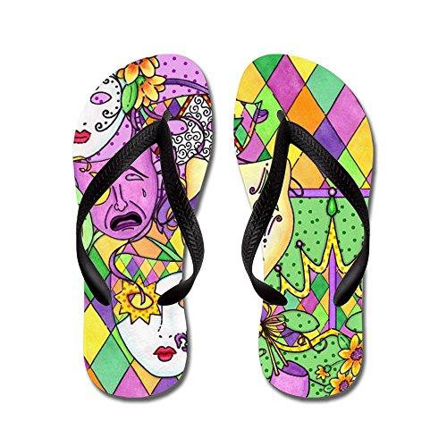 CafePress - Mardi Gras Masks - Flip Flops, Funny Thong Sandals, Beach Sandals (Gold Jester Shoes)