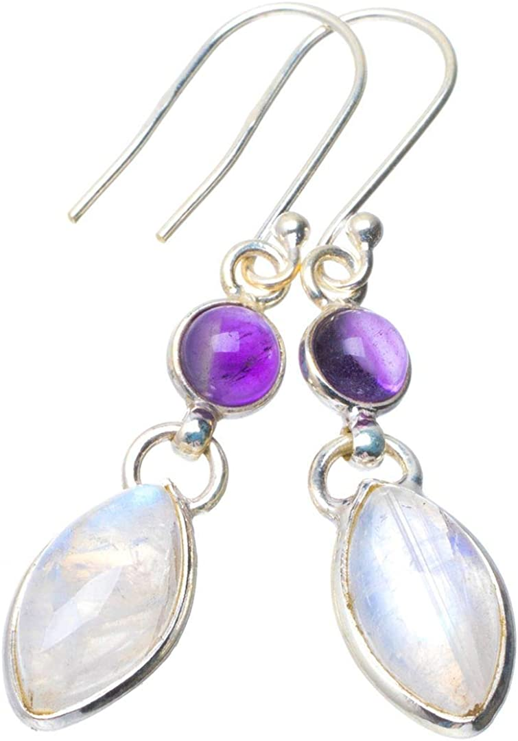 Natural Amethyst and Rainbow Moonstone/ Gemstone Handmade Dangle /& Drop Earrings