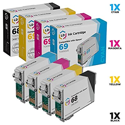 LD Products Remanufactured Ink Cartridge Replacement for Epson 68 ( Black,Cyan,Magenta,Yellow , 4-Pack )