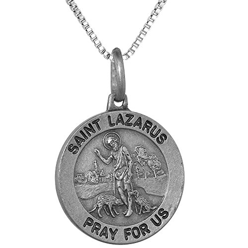 Sterling Silver St Lazarus Medal Necklace 3/4 inch Round Antiqued Finish Italy 18 inch Box_015 ()