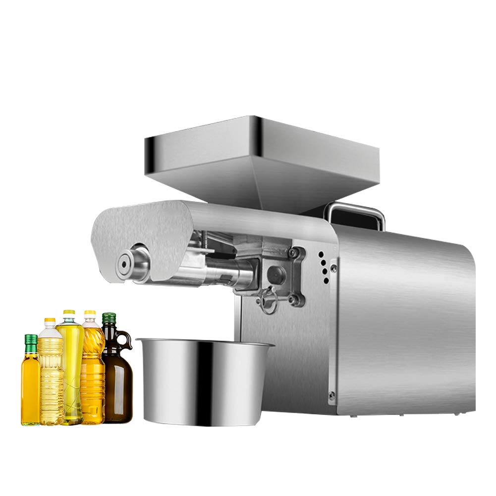 700W Oil Press Machine Home Automatic Oil Extractor Machine Organic Oil Expeller for Hot Cold Peanut Sunflower Seed and Other Oil Crops Stainless Steel Oil Press