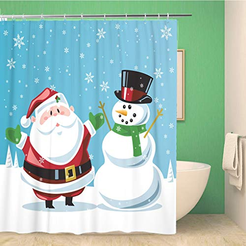 Awowee Bathroom Shower Curtain Christmas Santa Claus Snowman Frosty Cartoon Winter Holiday Magic Noel Polyester Fabric 66x72 inches Waterproof Bath Curtain Set with Hooks (Difference Between St Nick And Santa Claus)