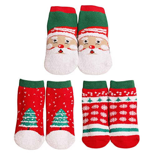 Price comparison product image OOCOME Christmas Stocking Santa Socks for Kids Children Winter Green Red Pack of 3 pairs 1-3 years
