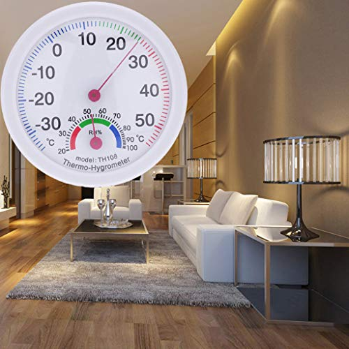 ♛Euone Home Improvement ♛Clearance♛, Indoor Outdoor Thermometer Temperature Meter Hygrometer Humidity Clock-shaped