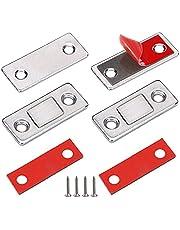 Deurmagneet Jiayi 2 Stuks Ultra dunne magnetische deurvanger Lade-magneet Roestvrij staal Magnetische kastvergrendelingen Hardware voor schuifdeur Raam Keukenkast Sluiting Kastdeur Deurdranger-zilver