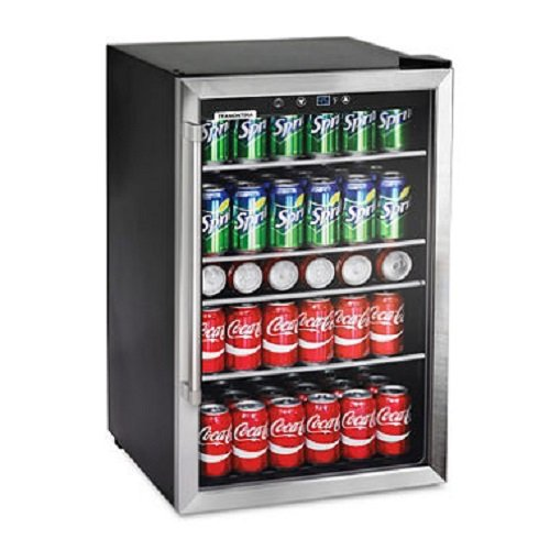 Tramontina 126-Can Capacity Stainless Steel Trim Wine Soda Beverage Center Glass Door Refrigerator