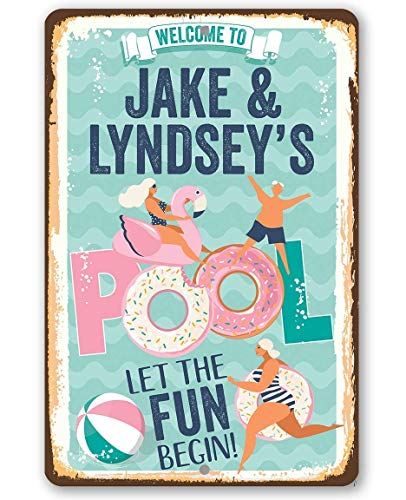 Personalized Welcome To Our Pool Floats Metal Sign - Durable Metal Sign - 8