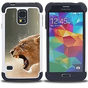 BullDog Case - FOR/Samsung Galaxy S5 I9600 G9009 G9008V / - / Fierce Lion Mother Female /- H??brido Heavy Duty caja del tel??fono protector din??mico - silicona suave
